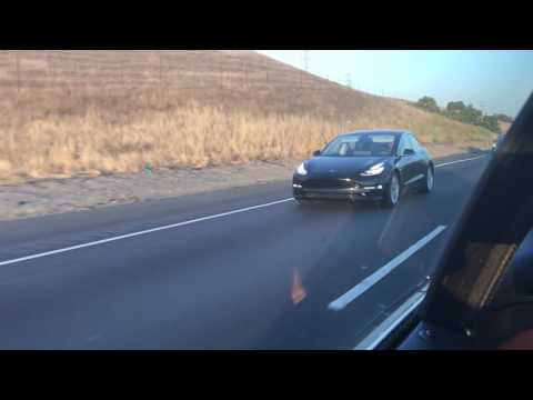 Tesla 3 spotted on the freeway on 06/18/17