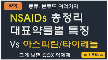 NSAIDs(비스테로이드성 항염증제) 총정리: 대표약물 별 특징/종류/분류/비교 with 아스피린, 아세트아미노펜(타이레놀)