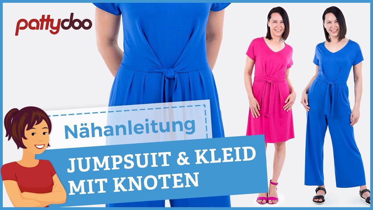 Pattydoo Anleitung Jumpsuit Kleid Mit Raffinierten Knotenbandern Nahen Tipps Fur Viskosejersey Youtube