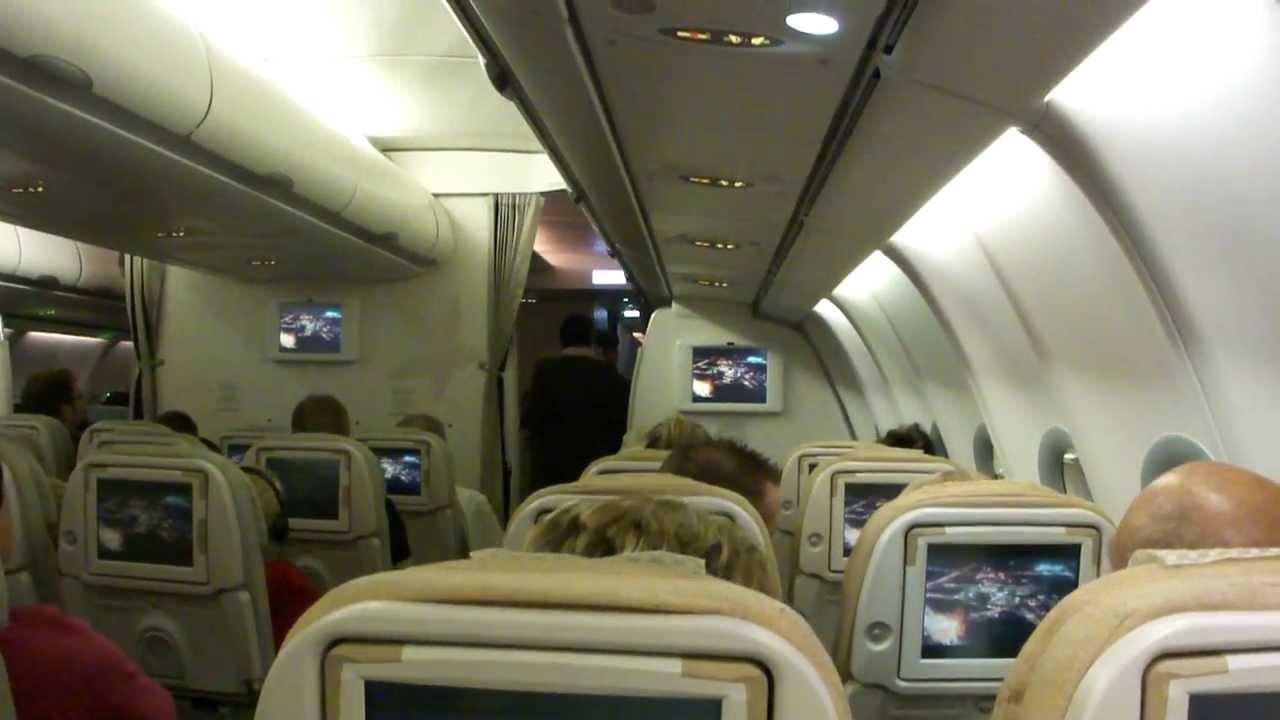 Inside Etihad Airways Airbus A340 600 Onboard Cabin