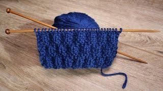 Рельефный двухсторонний узор спицами 🐬 Embossed Double-sided Knitting Pattern