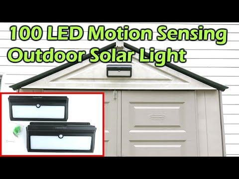100 LED Outdoor  Motion Sensing Solar Light Install - Luposwiten