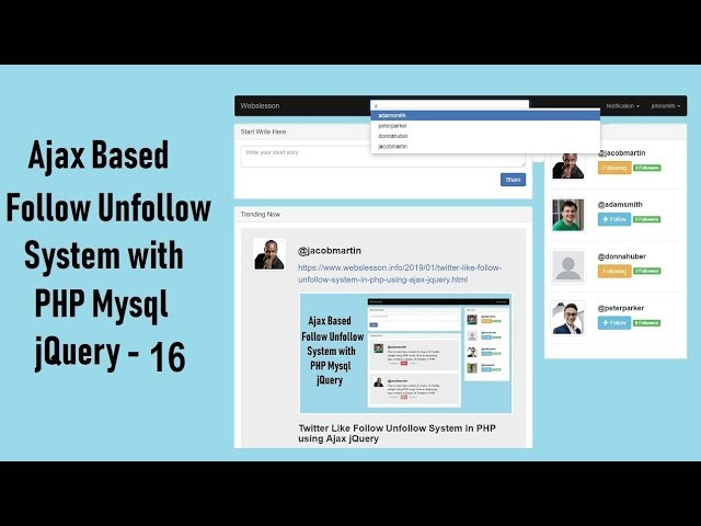 Ajax Based Follow Unfollow System with PHP Mysql jquery - 16