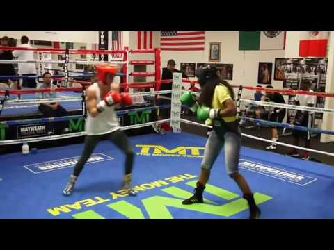 U.S Olympian Mikaela Mayer sparring inside Mayweather Boxing Club