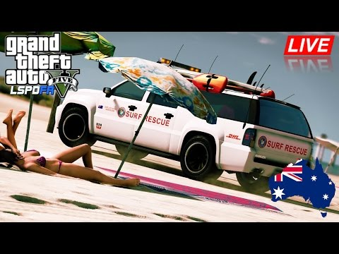 GTA 5 - Emergency 000 - Lifeguard Beach Patrol LIVE (Play GTA as a Paramedic mod for PC)