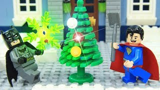Lego Superhero Batman and Superman Build Xmas Tree