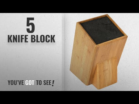 Top 10 Knife Block [2018]: Mantello XL Universal Bamboo Wood Knife Block Storage Holder Organizer
