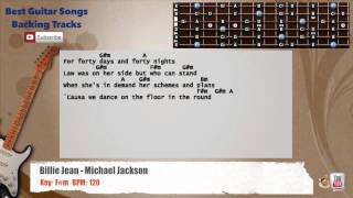 Billie Jean - Michael Jackson Guitar Backing Track with scale, chords and lyrics