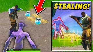 I followed PLAYERS while INVISIBLE and STOLE their loot.. (Fortnite Battle Royale)