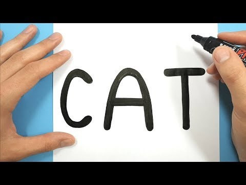 HOW TO TURN THE WORD CAT INTO A SUPER CUTE AND EASY CARTOON CAT DRAWING