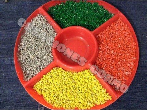 Reutiliza c mo pintar grava youtube for Grava de colores para jardin