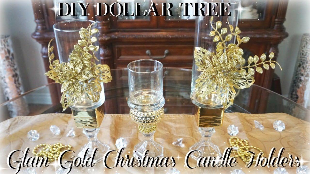 DIY DOLLAR TREE GLAM GOLD CHRISTMAS CANDLE HOLDERS DIY ROOM DECOR