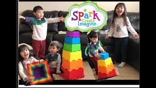 شرارة إنشاء تخيل جامبو مكدس FunPlay مع Q الاطفال LSB قناة