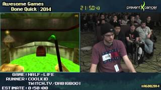 Half-life 'hard' Speed Run  0:39:25   Pc  Live By Coolkid #agdq 2014