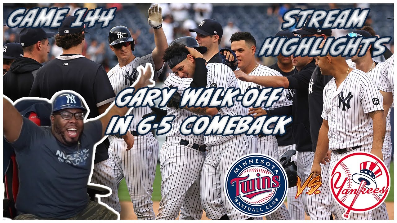 💥EL GARY WALKS IT OFF IN 10TH TO FINISH 5-0 COMEBACK💥144-162 TWINS VS YANKEES JOEZMCFLY REACTION