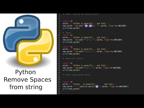 python 3 how to remove white spaces - YouTube