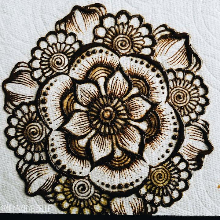 Mandala Henna Designs: Freehand Henna (Mehndi) Design 2: Simple Flower Mandala