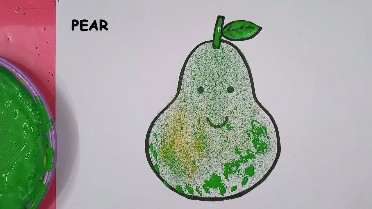 How to draw Pear| spray color art| best spray art| Pear with tooth ...