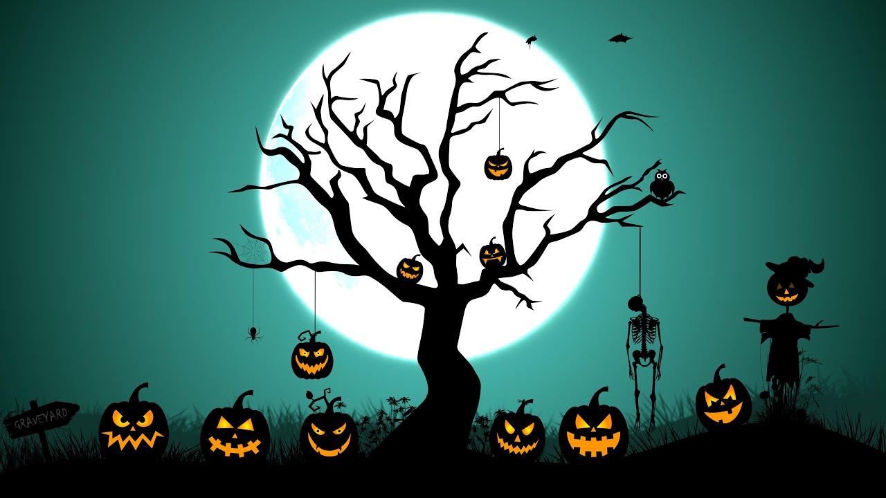 Halloween full moon Graveyard Pumpkins Animation 4k - YouTube
