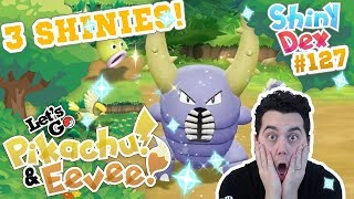 INSANE! 3 SHINIES! SHINY PINSIR REACTION in POKEMON LETS GO PIKACHU AND EEVEE!