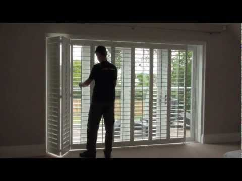 How Top Open And Close Track Mounted Plantation Window Shutters Ed On A Patio Door
