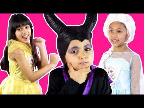 Disney Princesses In Real Life DANCE OFF Maleficent Vs Elsa Vs Belle CANDY SURPRISE EGG Prank Frozen