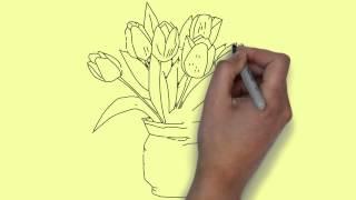 Как нарисовать букет тюльпанов(Как нарисовать букет тюльпанов. Здесь вы можете заказать рисованное видео - рекламный ролик, визитку, заста..., 2015-02-22T16:31:04.000Z)