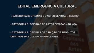 NOTÍCIAS DA CÂMARA - EDITAL EMERGENCIA CULTURAL          24/09/2020