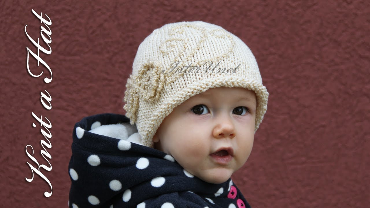 f96c8931472 A hat for my baby girl – knit a hat with crochet flowers - YouTube