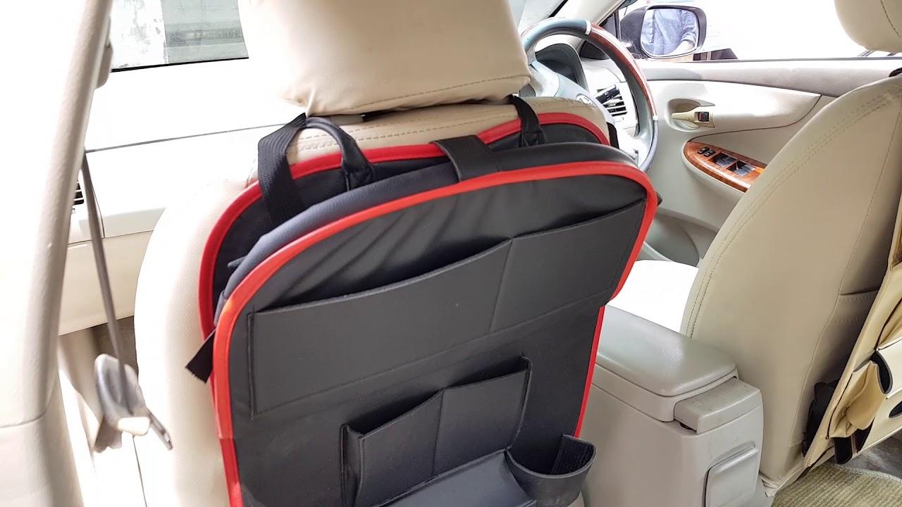 Car Back Seat Organizer With Tray Black 1 Pc Youtube
