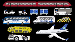 Airport Vehicles - Buses, Airplane, Baggage Cart & More - The Kids' Picture Show (Fun & Educational)