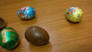 обзор на пасхальные шоколадные яйца,и на новогодние шоколадные яйца