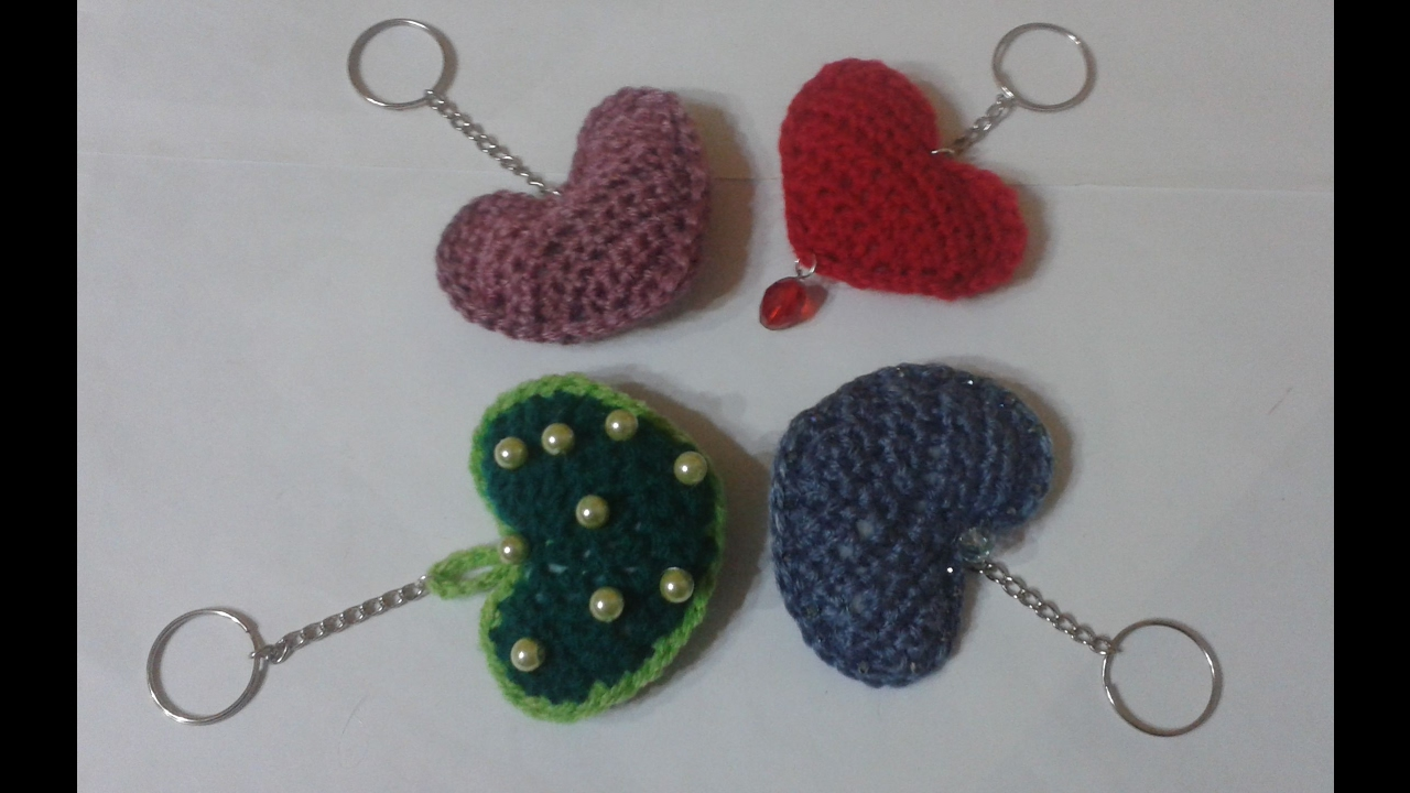 Cuore Portachiavi Alluncinettoheart Keychains Crochetedllaveros