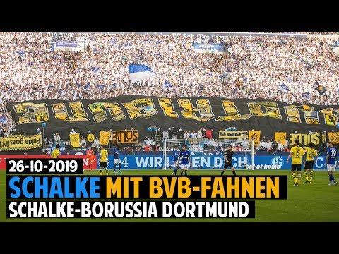 Schalke-Fans Präsentieren BVB-Fahnen | Schalke 04 - Borussia Dortmund 2019.10.26