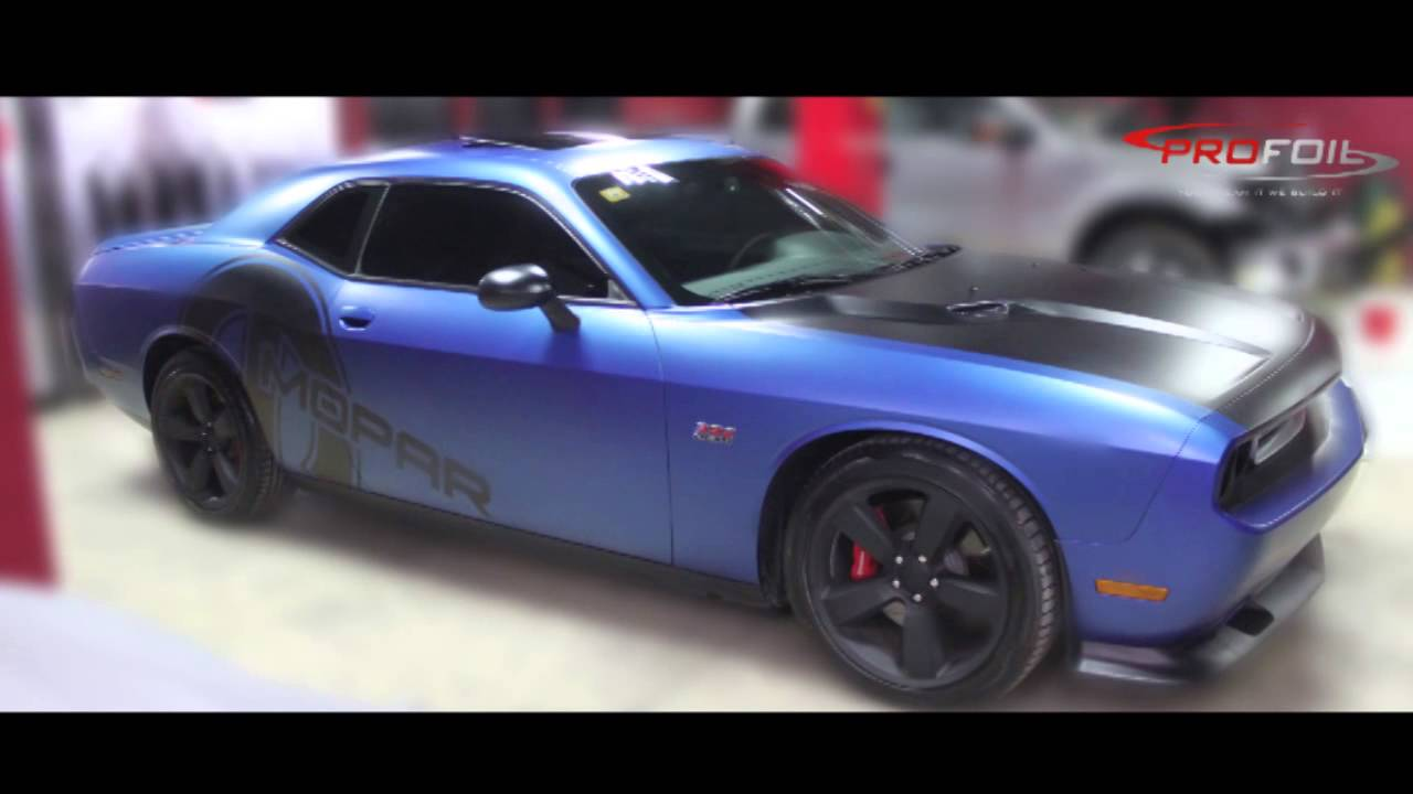 Car Wrap Dubai Dodge Challenger Wrapepd In Aluminuim Blue Matt