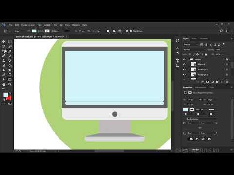 Создание флетовой иконки и графики.  Видеоуроки Photoshop.