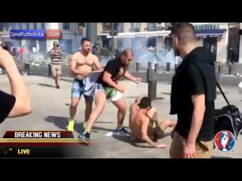 Brutal pelea entre hooligans ingleses y rusos, Inglaterra vs Rusia - Eurocopa BASTA DE VIOLENCIA