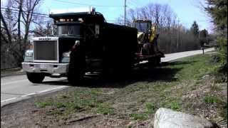 Mack Maxidyne Super Liner Dump truck Take off Pulling New Holland 675E Backhoe
