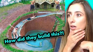 Kids Build AMAZING Water Slide Around Their SECRET UNDERGROUND HOUSE
