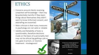 Validity Reliability and Ethics of Personality Assessment