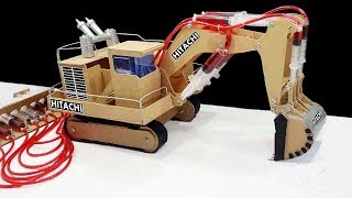 How to Make JCB (Hitachi) Remote Control Hydraulic Excavator(Crane) From Hardboard 'at Home DIY