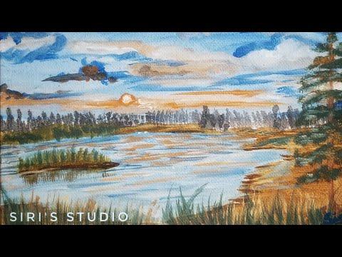 Speed Painting ASMR | Easy Landscape painting | Sunset Acrylic painting | Siri's Studio