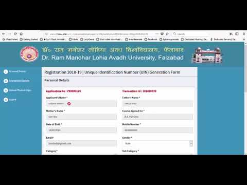 ONLINE REGISTRATION FOR UNIQUE IDENTIFICATION NUMBER (UIN) for RMLAU, FAIZABAD