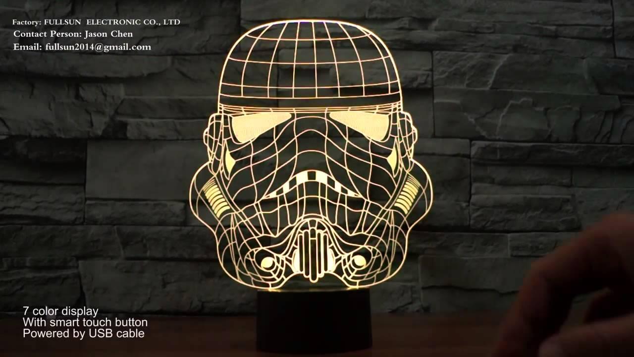 star wars shape 3D illusion LED night light lamp for room ...