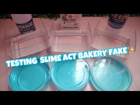 TESTING DIY LIQUID GLASS SLIME WITH SLIME ACT FAKE BAKERY TUTORIAL -  BHS INDONESIA