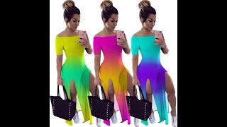 2020 новое поступление летнее платье в европейском и американском стиле женская градиент печати о