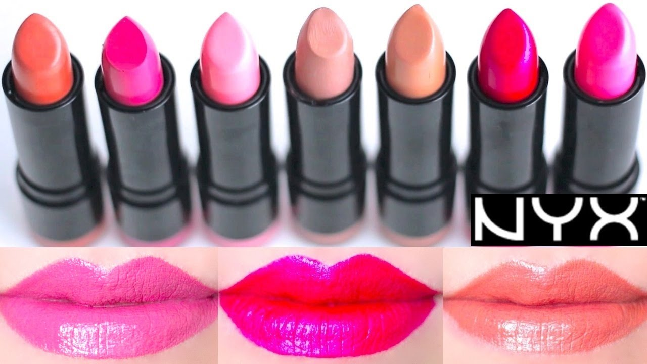 NYX Round Lipstick Swatches on Lips 7 colors - YouTube