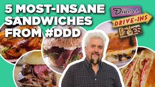 Top 5 Craziest Sandẁiches Guy Fieri Has Eaten on Diners, Drive-Ins and Dives | Food Network