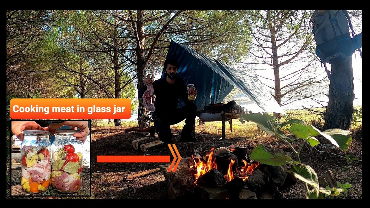 SOLO Two Days CAMPING - BUSHCRAFT Camp - SURVIVAL Skills - COOKING MEAT IN GLASS JAR - Asmr - Diy