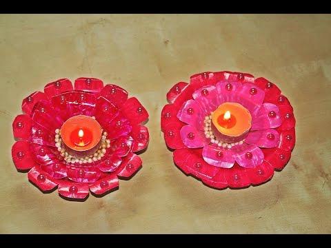 Recycled DIY: Diya/Candle Decoration made of Paper Plates/Diwali Decoration/Christmas Decor
